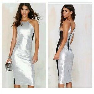 STUNNING Nasty Gal Silver Sequin Midi Party Dress